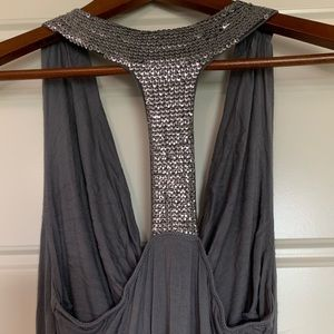 Silver Sequin Halter Top